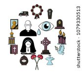 funeral ritual service icons... | Shutterstock .eps vector #1079330513