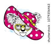 funny koala in a beach hat and... | Shutterstock .eps vector #1079356463