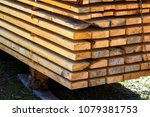 close up of neatly piled stack... | Shutterstock . vector #1079381753