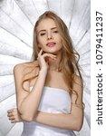 beautiful fashion smiling blond ... | Shutterstock . vector #1079411237