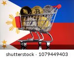 shopping trolley full of... | Shutterstock . vector #1079449403