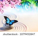 butterfly in japanese rock...   Shutterstock . vector #1079452847