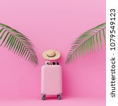 pink suitcase with traveler... | Shutterstock . vector #1079549123