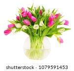 tulip flowers in glass vase... | Shutterstock . vector #1079591453