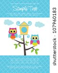 cute birthday card with owls | Shutterstock .eps vector #107960183