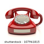 Red phone with empty label. Your number on label. - stock photo