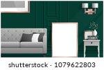 mock up poster frame in living... | Shutterstock .eps vector #1079622803