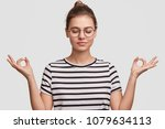 people and meditation concept.... | Shutterstock . vector #1079634113
