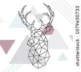 geometric reindeer illustration.... | Shutterstock .eps vector #1079650733