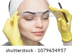 permanent make up for eyebrows... | Shutterstock . vector #1079654957