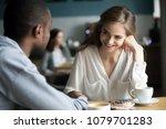 happy interracial couple... | Shutterstock . vector #1079701283