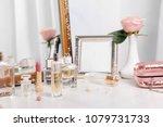 perfume bottles on dressing... | Shutterstock . vector #1079731733