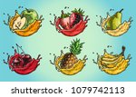 set of fruit in a milk splash....   Shutterstock .eps vector #1079742113