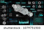head up display hud ui  jet... | Shutterstock .eps vector #1079751503
