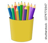 colored pencils in the plastic... | Shutterstock .eps vector #1079773547