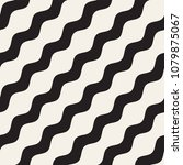 Vector seamless black and white wavy lines pattern. Abstract geometric simple background design. | Shutterstock vector #1079875067