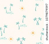 summer pattern with hand drawn... | Shutterstock .eps vector #1079879597