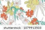 floral seamless pattern ...   Shutterstock .eps vector #1079913503