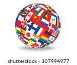 sphere with flags of the world... | Shutterstock .eps vector #107994977