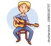 blond guitarist on a stool ...   Shutterstock .eps vector #1080018737