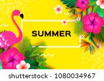 flamingo and pink hibiscus... | Shutterstock .eps vector #1080034967