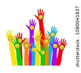emoticon. multicolored hands... | Shutterstock .eps vector #1080041837