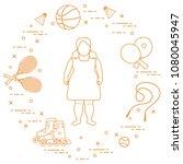 fat girl  badminton rackets and ... | Shutterstock .eps vector #1080045947