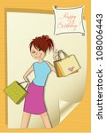 pretty young girl with gift... | Shutterstock .eps vector #108006443