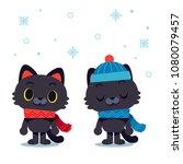 vector cat character wearing... | Shutterstock .eps vector #1080079457