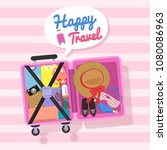 vector design open luggage with ... | Shutterstock .eps vector #1080086963