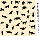 Set Of Black Cat Silhouettes O...