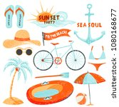 summer holidays set. hand drawn ... | Shutterstock .eps vector #1080168677