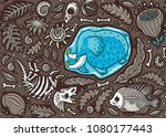 seamless pattern with ancient... | Shutterstock .eps vector #1080177443