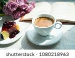 espresso coffee and slice of... | Shutterstock . vector #1080218963