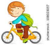 Editable vector illustration of boy cycling - stock vector