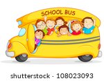 Editable vector illustration of happy children on school bus - stock vector