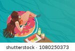 illustration of girl lying... | Shutterstock .eps vector #1080250373