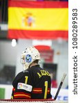 Small photo of GRANADA - SPAIN, APRIL 20, 2018: ice hockey world championship, group II, division B, between the teams of Spain and New Zealand. ALCAINE Ander, ESP goalkepeer.