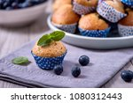 blueberry muffins  healthy... | Shutterstock . vector #1080312443