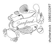 graphic seafood  vector | Shutterstock .eps vector #1080313397