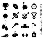 Sports related icon set in black - stock vector