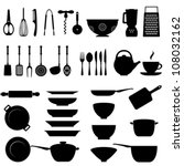Kitchen utensils and tool icon set - stock vector