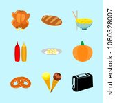 icons about food with toaster ... | Shutterstock .eps vector #1080328007