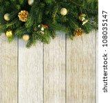 christmas fir tree with... | Shutterstock . vector #108035147