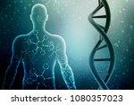 3d render of dna structure ... | Shutterstock . vector #1080357023