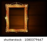 golden frame placed on a wooden ... | Shutterstock .eps vector #1080379667