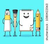 art supplies characters. flat... | Shutterstock .eps vector #1080422063