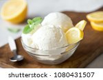 lemon ice cream in bowl.... | Shutterstock . vector #1080431507