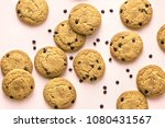 chocolate chip cookies on pink... | Shutterstock . vector #1080431567