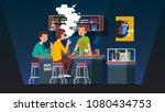 modern vape shop bar barman... | Shutterstock .eps vector #1080434753